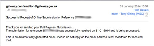 Email from HMRC